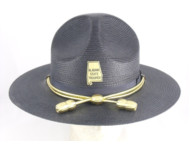 Alabama State Trooper patrol hat, blue felt campaign hat with silver hat cords