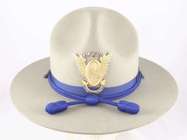California Highway Patrol patrol hat, tan felt campaign hat with blue cords and acorns worn by Troopers