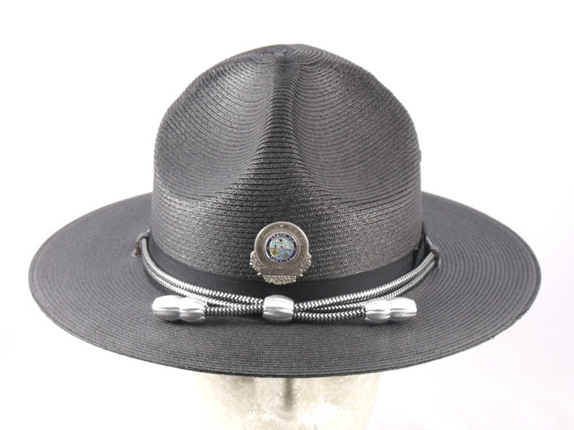 Florida Highway Patrol blue straw campaign hat with black and silver cords and silver acorns