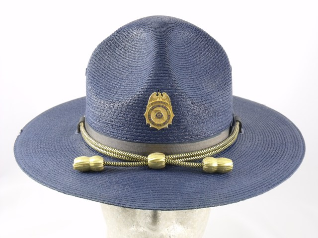 Louisiana State Police hat royal blue straw summer campaign hat with gold and black cords and gold acorns
