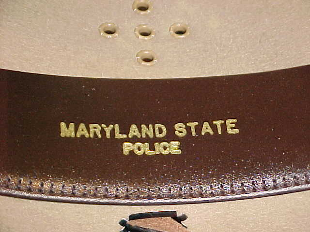 Maryland State Police inside hat with gold embossed writing
