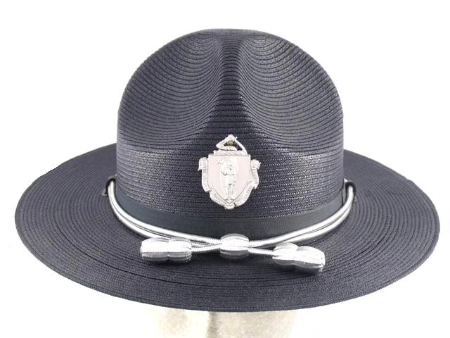 Massachusetts State Police navy blue straw summer campaign hat with silver cords and acorns