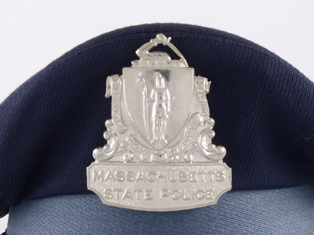 Massachusetts State Police flat cap hat badge