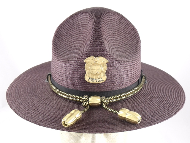 Minnesota State Patrol maroon felt campaign hat with gold cords and acorns