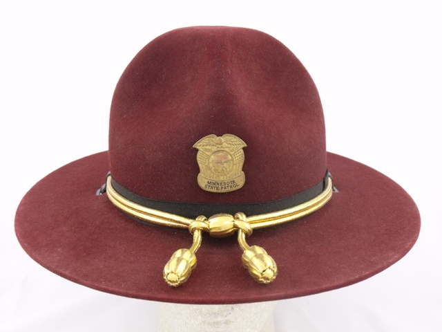 Minnesota State Patrol maroon straw campaign hat with gold and black cords and gold acorns
