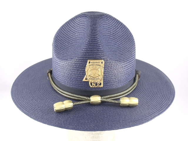 Mississippi Highway Patrol blue straw summer campaign hat with gold and black cords and gold acorns
