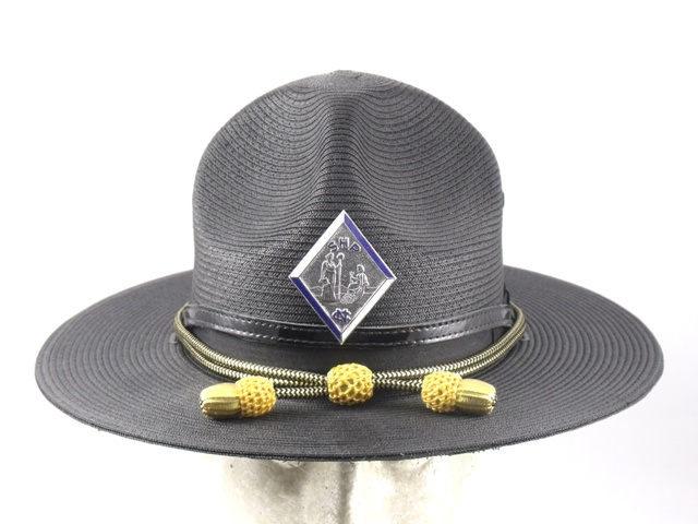 North Carolina Highway Patrol black straw campaign hat with gold and black cords and gold acorns