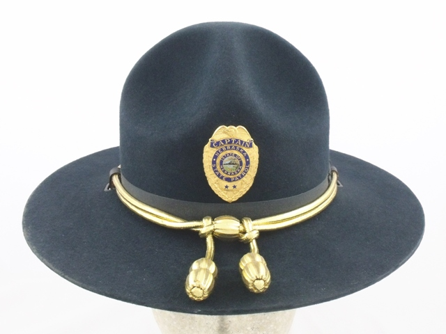 Nebraska State Patrol navy blue trooper felt winter campaign hat with gold cords and acorns