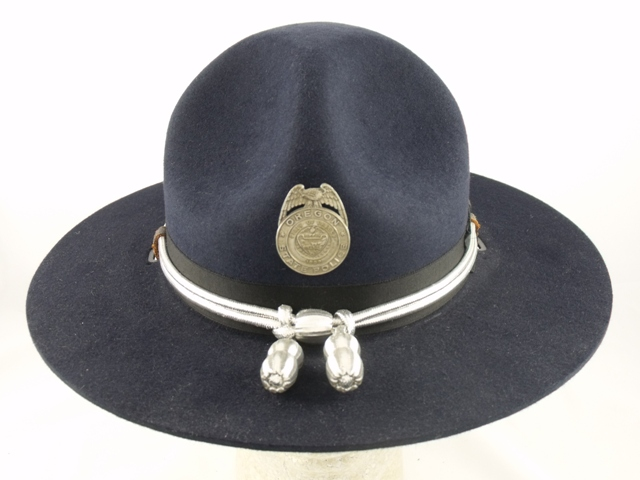 Oregon State Police navy blue felt trooper winter campaign hat with silver cords and acorns