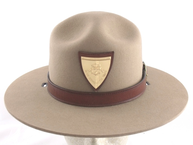 Rhode Island State Police tan park service felt winter campaign hat with leather straps