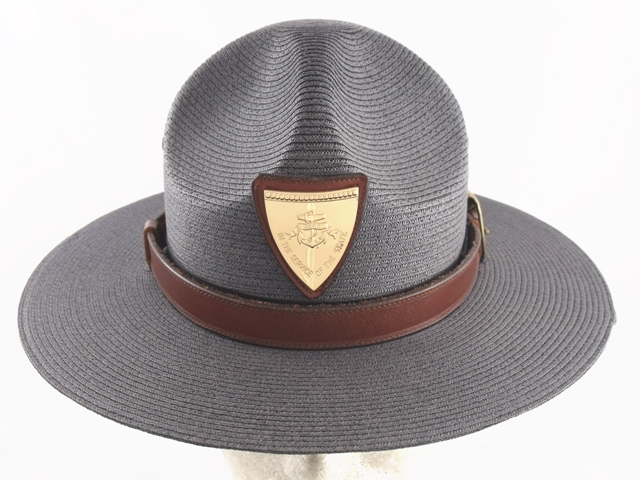 Rhode Island State Police graphite grey straw summer campaign hat with leather straps