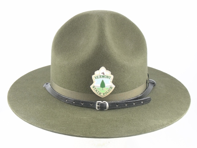 Vermont State Police conservation green felt campaign hat with leather straps