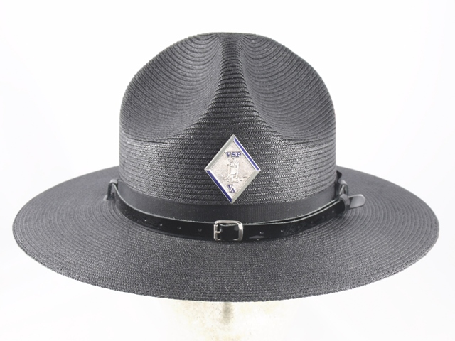 Virginia State Police black straw campaign hat with leather straps