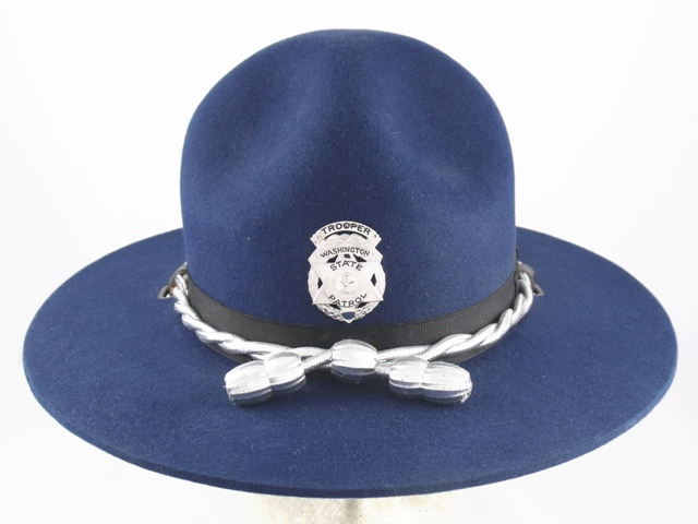 Washington State Patrol blue felt campaign hat with silver cords and acorns