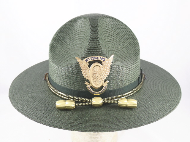 Wyoming Highway Patrol forest green straw campaign hat with gold and black cords and gold acorns